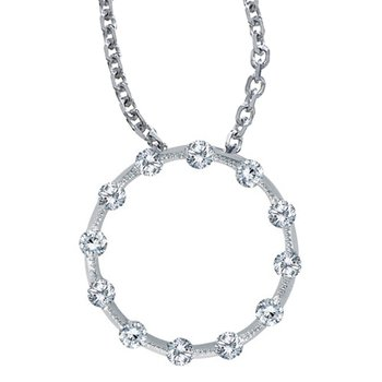 14K White Gold Diamond Circle Pendant (.25 carat)