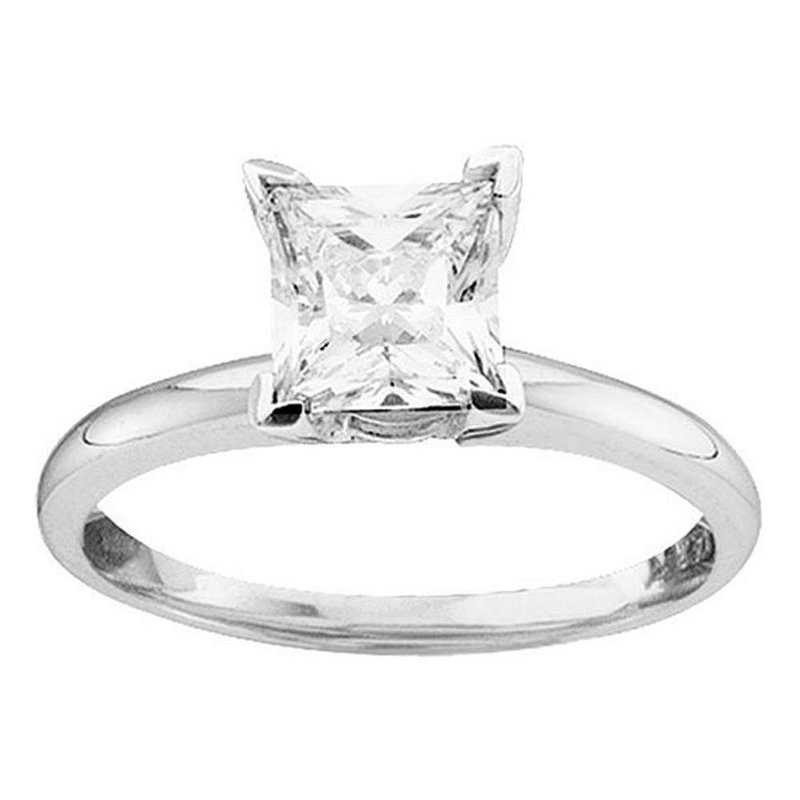 Gold-N-Diamonds, Inc. (Atlanta) 14kt White Gold Womens Princess Diamond Solitaire Bridal Wedding Engagement Ring 3/4 Cttw