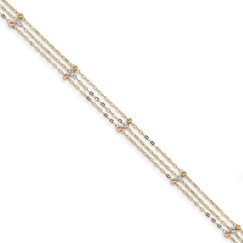 14k Tri-color 3-Strand Diamond-cut Beaded 9in Plus 1in ext Anklet
