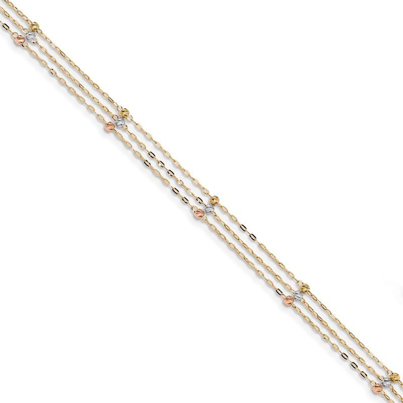 Quality Gold 14k Tri-color 3-Strand Diamond-cut Beaded 9in Plus 1in ext Anklet