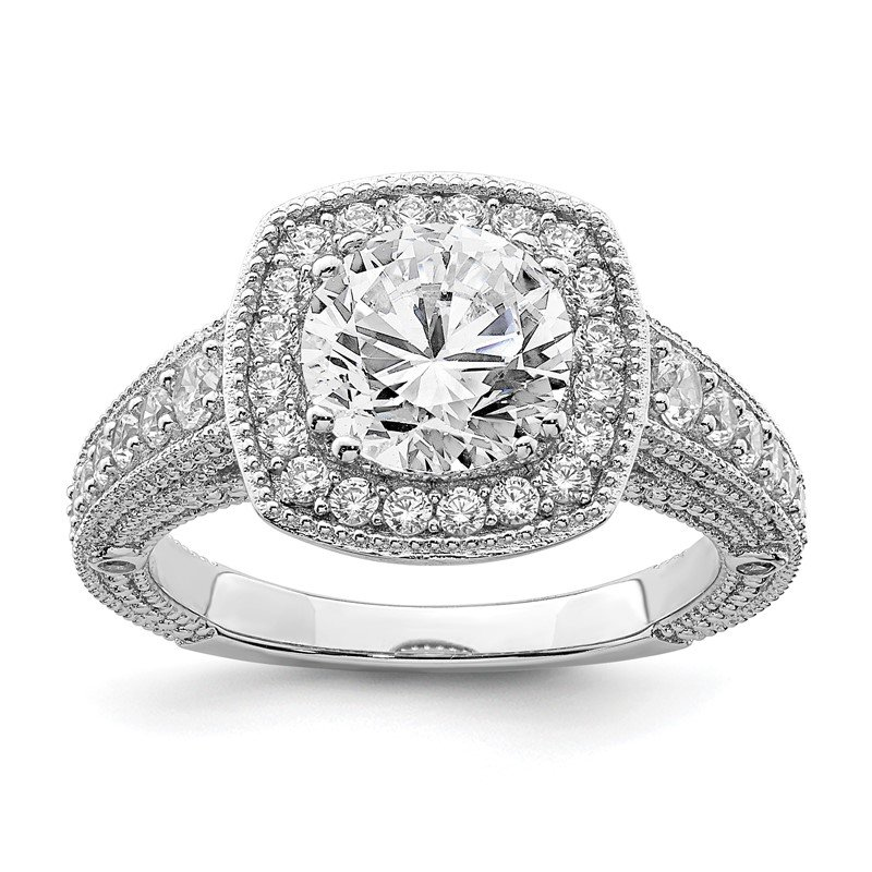 Quality Gold Sterling Silver Rhodium-plated 8mm Center CZ Halo Ring