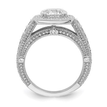 Sterling Silver Rhodium-plated 8mm Center CZ Halo Ring