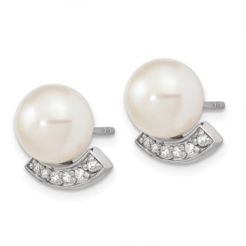 Sterling Silver Rhodium-plated CZ (8-9mm) FWC Pearl Post Earrings