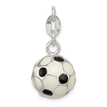 Sterling Silver Enameled Soccer Ball Charm