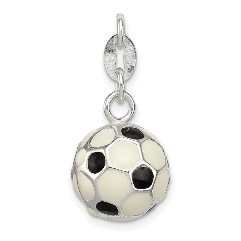 Quality Gold Sterling Silver Enameled Soccer Ball Charm