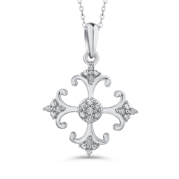 10K White Gold Round Diamond Fashion Pendant with Chain (1.00 cttw)