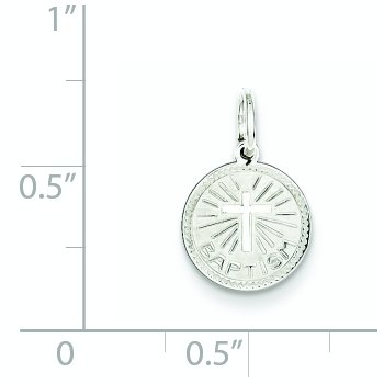 Sterling Silver Rhodium-plated Baptism Disc Charm