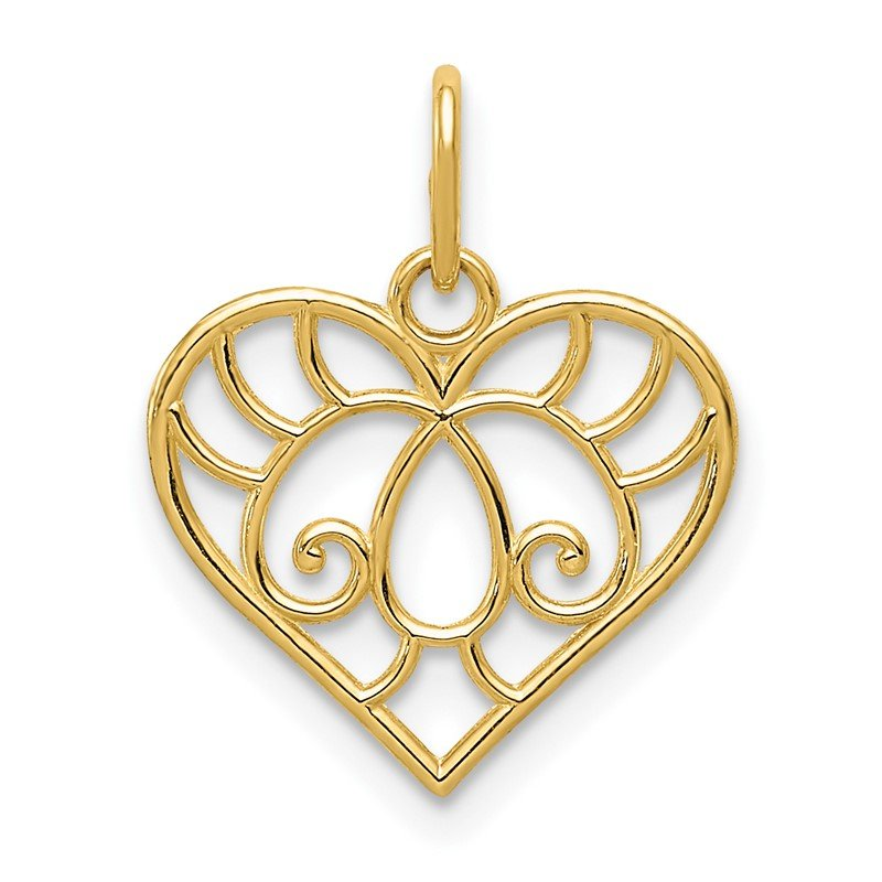 Quality Gold 14K Polished Filigree Heart Pendant