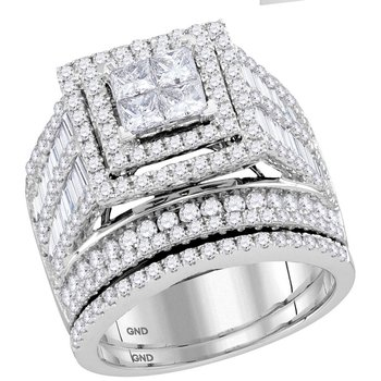 14kt White Gold Womens Princess Diamond Bridal Wedding Engagement Ring Band Set 3.00 Cttw