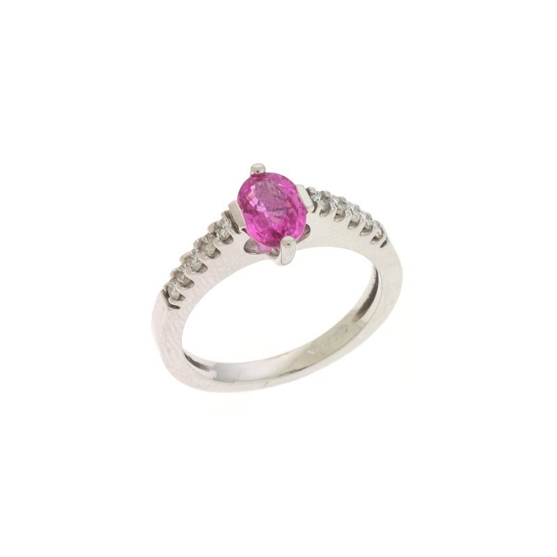 S. Kashi  & Sons Pink Sapphire./diamond Ring
