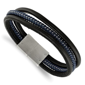 Stainless Steel Brushed Black & Blue Braided Leather 8in Bracelet