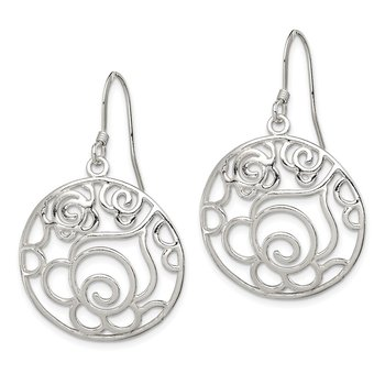 Sterling Silver Polished Round Fancy Dangle Earrings