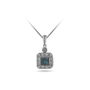 10K WG Rounded Square Halo Drop Pendant with Blue Center