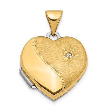 14k Two-Tone 15mm Reversible Diamond Heart Locket