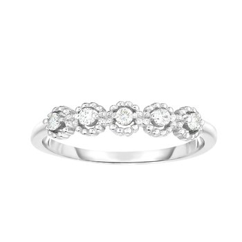 14K Gold .08ct Diamond Round Shape Stackable Ring