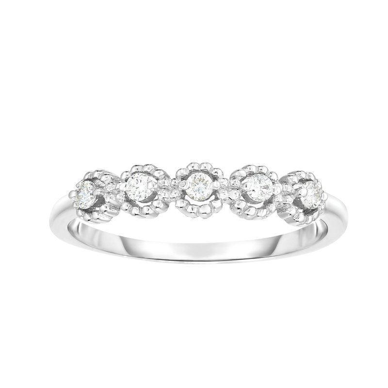 Royal Chain 14K Gold .08ct Diamond Round Shape Stackable Ring