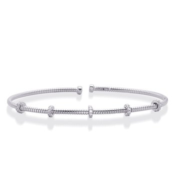 White Gold Bangle Italian Made