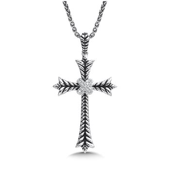 Sterling silver and diamond fleur de lis cross pendant