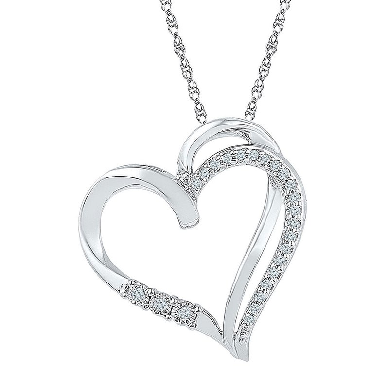 Kingdom Treasures Sterling Silver Womens Round Diamond Heart Pendant 1/10 Cttw