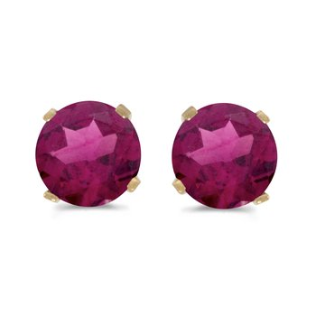 5 mm Natural Round Rhodolite Garnet Stud Earrings Set in 14k Yellow Gold