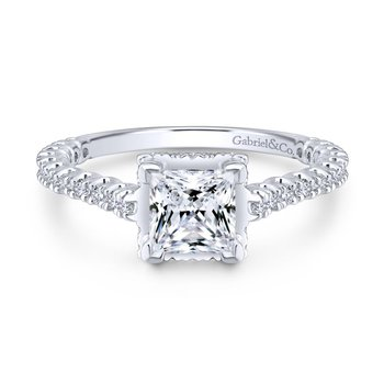 Princess cut with side Diamonds Engagement Ring