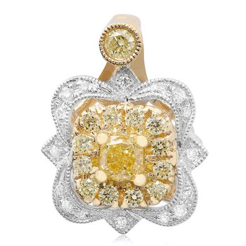 Ornate Two Tone Diamond Pendant