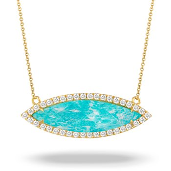 Amazon Breeze Marquise Shape Halo Necklace 18KY