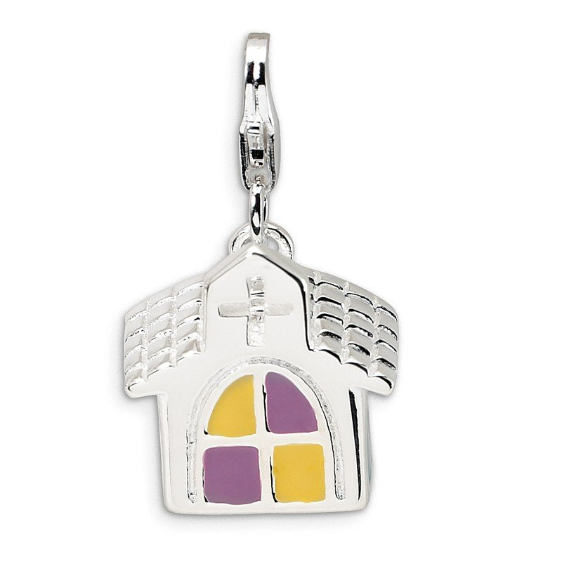 Quality Gold Sterling Silver 3-D Enameled Church w/Lobster Clasp Charm