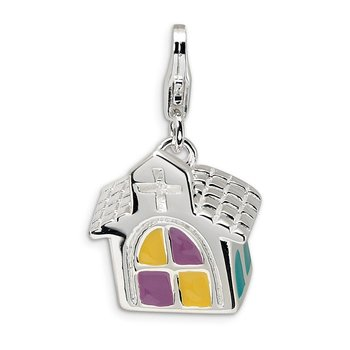 Sterling Silver 3-D Enameled Church w/Lobster Clasp Charm