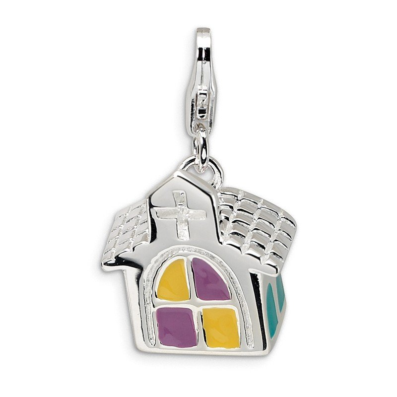 Quality Gold SS RH 3-D Enameled Church w/Lobster Clasp Charm