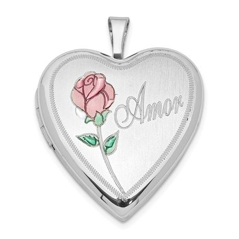 Sterling Silver Rhodium-plated 20mm Enameled Rose Amor Heart Locket