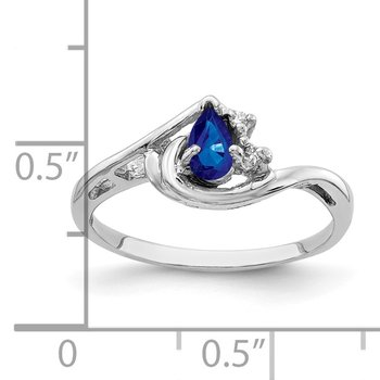 14k White Gold 5x3mm Pear Sapphire AA Diamond ring