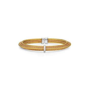 Yellow & Rose Cable Tiered Stackable Bracelet with Single Diamond Station set in 18kt White Gold