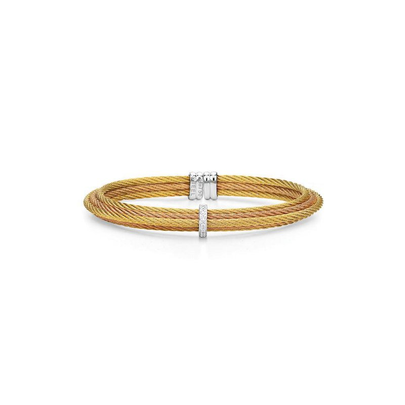 ALOR Yellow & Rose Cable Tiered Stackable Bracelet with Single Diamond Station set in 18kt White Gold