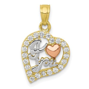 10K Two-Tone w/White Rhodium I LOVE YOU CZ Heart Pendant