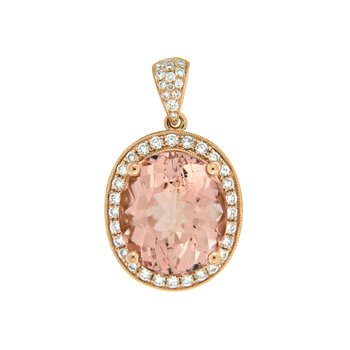 18k Rose Gold Pendant with Morganite & Diamond