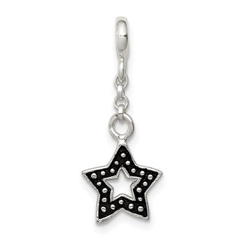 Sterling Silver Enameled Star 1/2in Dangle Enhancer