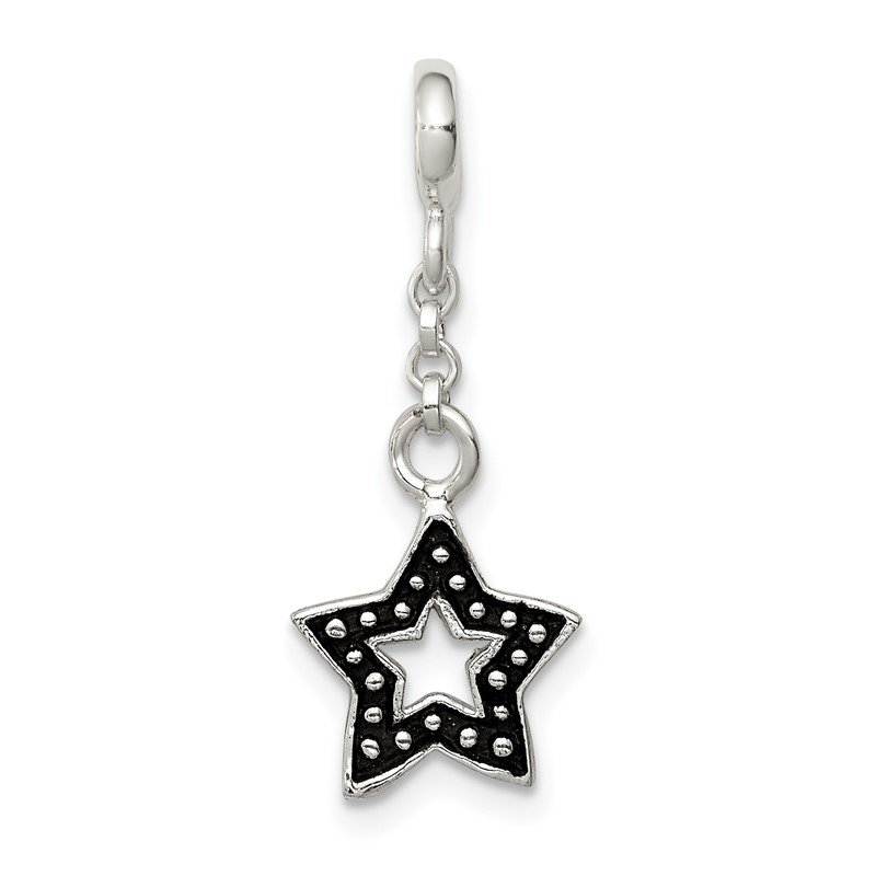 Quality Gold Sterling Silver Enameled Star 1/2in Dangle Enhancer