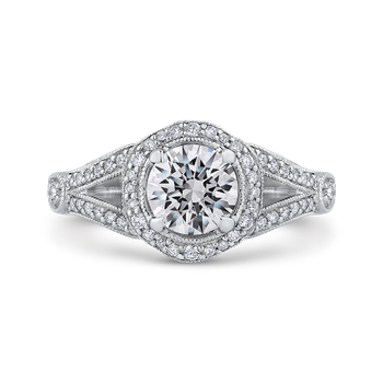 18K White Gold Round Diamond Floral Halo Engagement Ring with Split Shank (Semi-Mount)