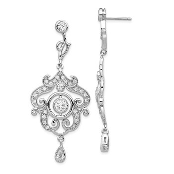 Cheryl M Sterling Silver CZ Chandelier Dangle Post Earrings