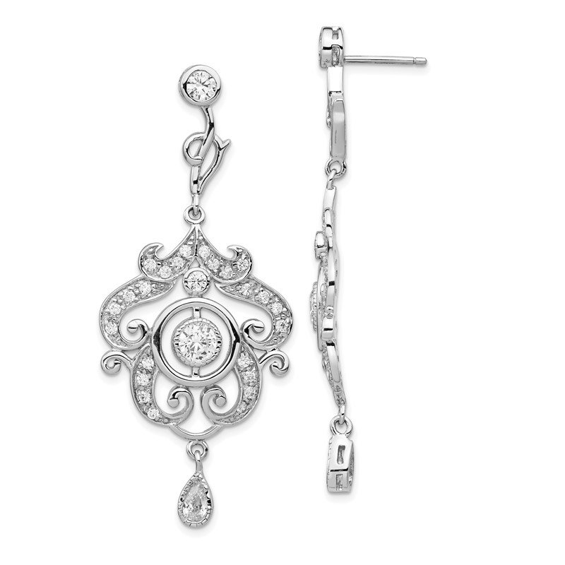 Cheryl M Cheryl M Sterling Silver Rhod Plated CZ Chandelier Dangle Post Earrings