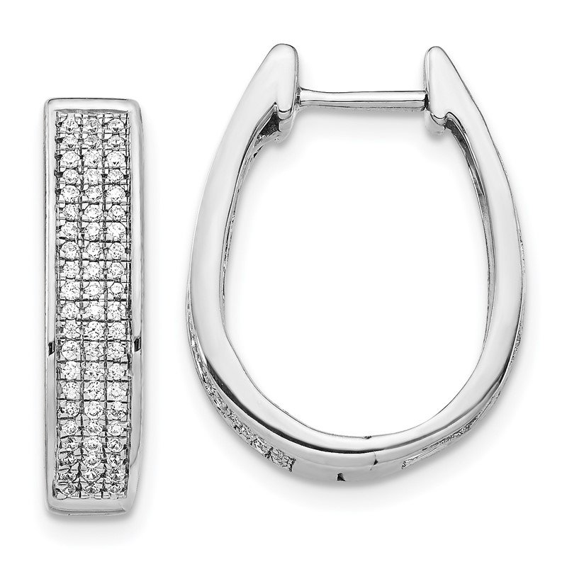 14k White Gold Diamond Large Hinged Oval Hoop Earrings
