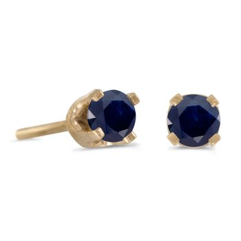 3 mm Petite Round Genuine Sapphire Stud Earrings in 14k Yellow Gold