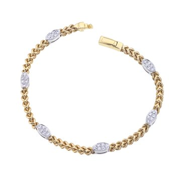 Two-Tone Braided Bracelet with Diamond Ovals