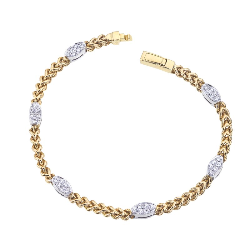 DA Gold Two-Tone Braided Bracelet with Diamond Ovals
