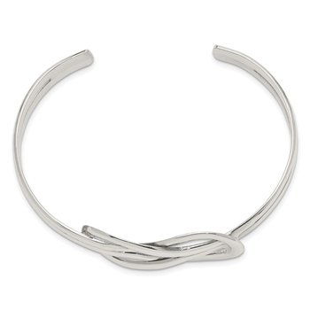 Sterling Silver Knot Design Cuff Bangle