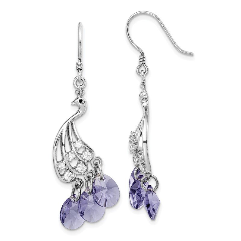 Quality Gold Sterling Silver Rhodium-plated Clear and Purple Crystal Peacock Earrings