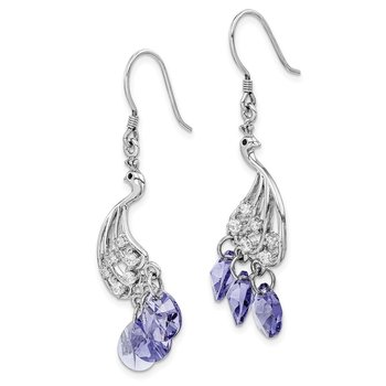 Sterling Silver Rhodium-plated Clear/Purple Crystal Peacock Earrings