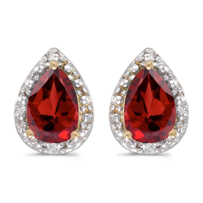 Color Merchants 14k Yellow Gold Pear Garnet And Diamond Earrings