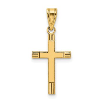 14k Laser Etched Cross Pendant